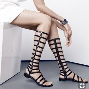 Stuart Weitzman Black leather Gladiator Sandals
